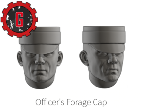 28mm Heroic Scale Officer's Forage Cap (50 heads) in Smooth Fine Detail Plastic