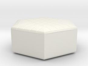 Miniature 1:48 Pouf in White Natural Versatile Plastic: 1:48 - O