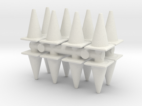Traffic Cones (x16) 1/72 in White Natural Versatile Plastic