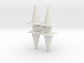 Traffic Cones (x4) 1/35 in White Natural Versatile Plastic