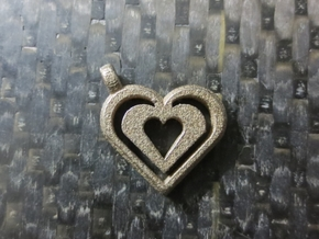 Enjoined Hearts Pendant in Stainless Steel