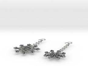 Ice and Snow Beauty Earrings in Natural Silver (Interlocking Parts)