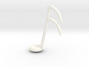 Sixteenth note spoon in White Processed Versatile Plastic