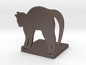 猫造型書擋板 Cat shape bookend in Polished Bronzed-Silver Steel: Large
