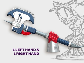 2x Khrom Axes - Demon Lord Weapons (L&R) in Smooth Fine Detail Plastic