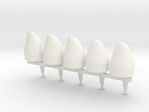 5 x Spanish Bearskin in White Processed Versatile Plastic