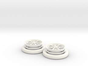 1/8 Spindle Mount Drag Tire And Wheel in White Strong & Flexible Polished