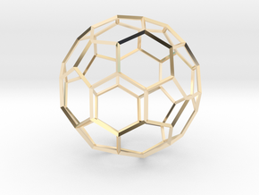 Soccer Ball - wireframe in 14k Gold Plated Brass
