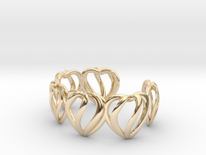 Heart Cage Bracelet (5 large hearts) in 14K Yellow Gold