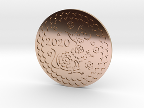 2020 - Year of the Rat/Mouse Coin in 14k Rose Gold Plated Brass
