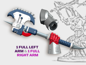 2x Khrom Axes - Demon Lord Weapons w/Arms in Smooth Fine Detail Plastic