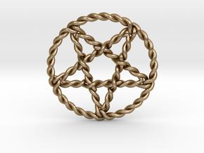 Twisted pentagram pendant large in Polished Gold Steel