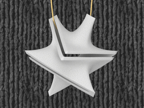 Star Minimal Surface Pendant in White Natural Versatile Plastic: Medium