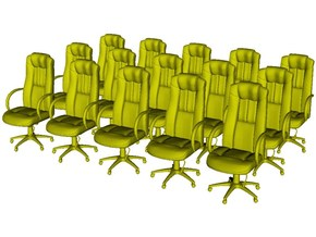 1/48 scale office chairs set A x 15 in Smooth Fine Detail Plastic