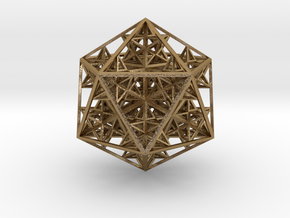 Nested 14 stellated dodecahedrons  in Polished Gold Steel