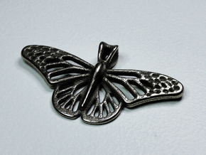 Butterfly Pendant in Polished Bronzed Silver Steel