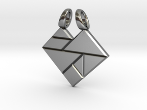 Heart tangram [pendant] in Polished Silver