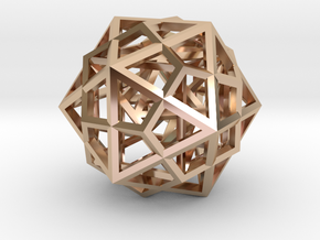 Nested Platonic Solids 3mm in 14k Rose Gold Plated Brass