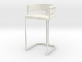 1:12 Miniature Bar Stool in White Natural Versatile Plastic