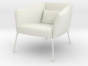 Miniature 1:12 Arcmchair in White Natural Versatile Plastic: 1:12