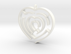 Heart maze pendant in White Strong & Flexible Polished