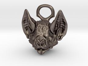 Bat Pendant in Polished Bronzed-Silver Steel: Medium