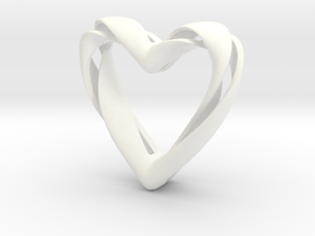 Twisted Heart pendant in White Processed Versatile Plastic