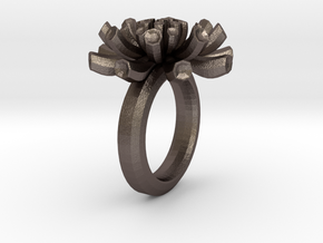 Sea Anemone Ring17.5mm in Polished Bronzed Silver Steel