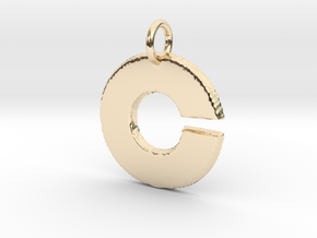 Small Gold Pendant Letter Initial C Disco in 14K Yellow Gold