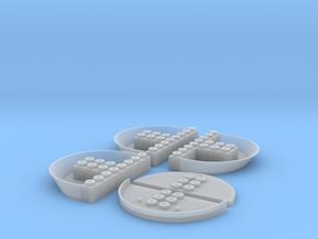 Popa 8 puntos (x3) + placa + puente in Smooth Fine Detail Plastic
