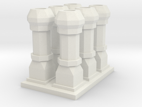 edwardian chimneys  - 19mm high in White Natural Versatile Plastic