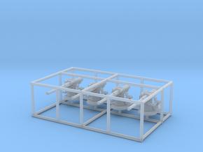 1/240 USN 4in 50 Open Sub Deck Gun SET x4 in Smooth Fine Detail Plastic