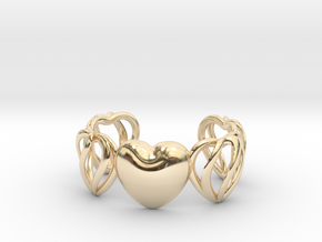 Heart Cage Bracelet (5 large Hearts, one solid) in 14K Yellow Gold