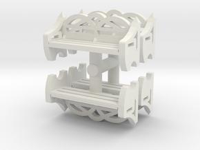 Park Bench (x4) 1/72 in White Natural Versatile Plastic