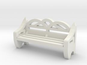 Park Bench 1/24 in White Natural Versatile Plastic