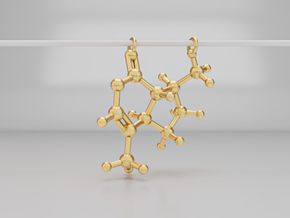 3D Catnip (Nepetalactone) Molecule Necklace in Polished Gold Steel