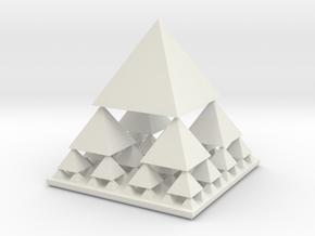 Fractal Pyramid in White Natural Versatile Plastic