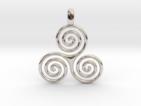 TRIPLE SPIRAL Minimal Symbol Jewelry Pendant  in Platinum