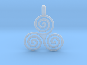 TRIPLE SPIRAL Minimal Symbol Jewelry Pendant  in Smooth Fine Detail Plastic