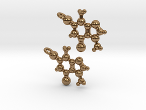 Theobromine Earrings in Natural Brass