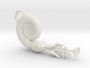 Nautilus Playing a Trumpet in White Natural Versatile Plastic