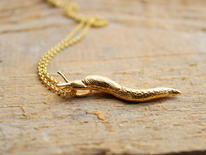 Slug Pendant - Science Jewelry in 14k Gold Plated Brass