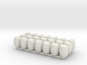 Wooden Barrel 01. 1:96 Scale in White Natural Versatile Plastic