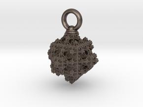 cuboiiid fractal pendant (large hoop) in Polished Bronzed-Silver Steel