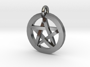Pentacle Charm in Polished Silver