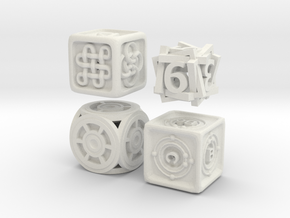 Dice Bundle 01 in White Natural Versatile Plastic