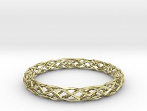 Mobius Diamond Check Bracelet in 18k Gold Plated Brass: Medium