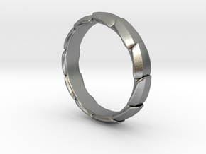 Armor Ring in Natural Silver: 8 / 56.75