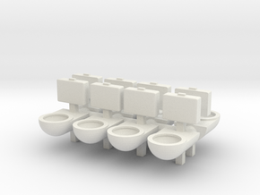 Prison Toilet (x8) 1/87 in White Natural Versatile Plastic