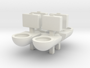Prison Toilet (x4) 1/76 in White Natural Versatile Plastic